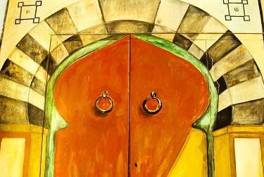 AF47NTO0103 Painted door, Tunisia, North Africa