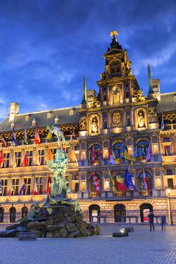 BEL1436AW Town Hall (Stadhuis) in Main Market Square, Antwerp, Flanders, Belgium