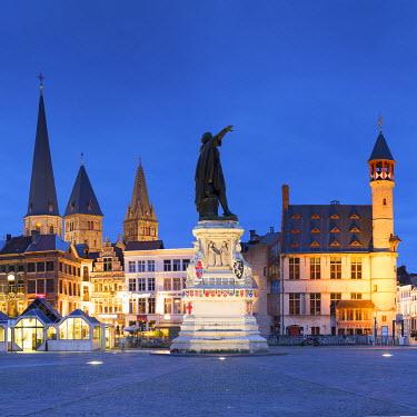 BEL1474AW Friday Market Square at dusk, Ghent, Flanders, Belgium
