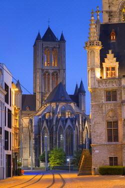 BEL1479AW St Nicholas Church at dawn, Ghent, Flanders, Belgium