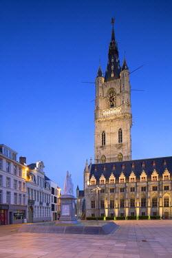 BEL1480AW Belfry (UNESCO World Heritage Site) at dawn, Ghent, Flanders, Belgium
