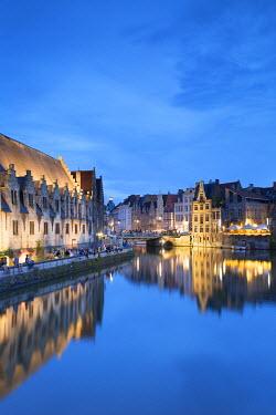 BEL1485AW Leie Canal at dusk, Ghent, Flanders, Belgium
