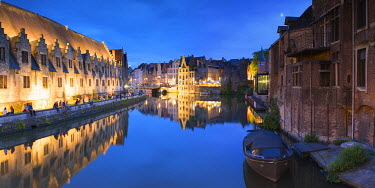 BEL1486AW View of Leie Canal at dusk, Ghent, Flanders, Belgium