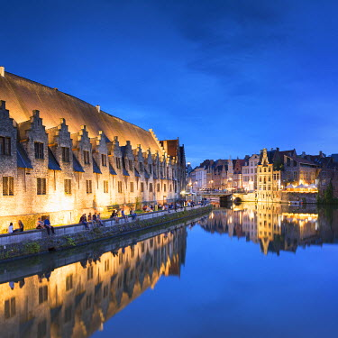 BEL1487AW View of Leie Canal at dusk, Ghent, Flanders, Belgium