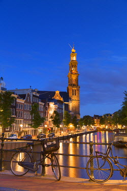 NLD0350AW Prinsengracht canal and Westerkerk at dusk, Amsterdam, Netherlands