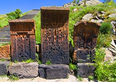 AS47MRU0108 Old gravestones in the Sevanavank (Sevan Monastery) by Lake Sevan, Armenia