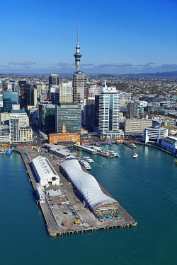 AU02DWA9075 The Cloud events venue, Queen's Wharf, Sky Tower, and waterfront, Auckland, North Island, New Zealand