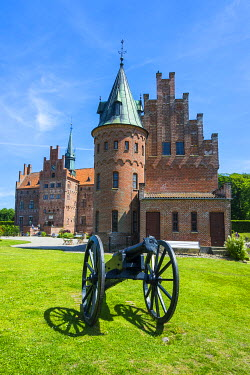 Historic cannon before Castle Egeskov, Denmark