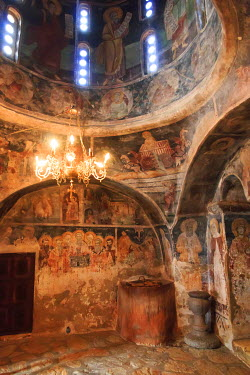 EU49EWI0177 Macedonia, Lake Ohrid. St. Naum Monastery, chapel, frescoes, pilgrimage spot on plateau over Ohrid Lake. Founded 910 by St. Naum, present-day church built 16th c. Frescos of St. Cyril and Methody and...