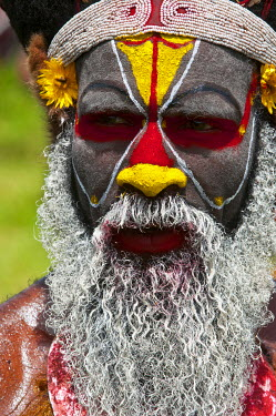 OC12MRU0144 Colorful dress and face painted local tribes celebrating the traditional Sing Sing in Mount Hagen in the Highlands of Papua New Guinea, Melanesia