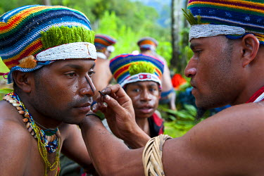 OC12MRU0224 Tribesmen put up color in their face to celebrate the traditional Sing Sing in Paya in the Highlands of Papua New Guinea, Melanesia
