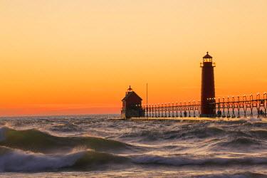 US24RDY0002 Grand Haven South Pier Lighthouse at sunset on Lake Michigan, Ottawa County, Grand Haven, Michigan, USA