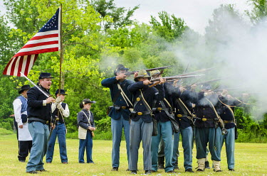 US34MDE0023 Union soldiers at the Thunder on the Roanoke Civil War reenactment in Plymouth, North Carolina, USA.