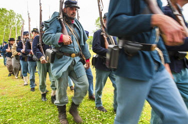 US34MDE0035 Union soldiers at the Thunder on the Roanoke Civil War reenactment in Plymouth, North Carolina, USA.