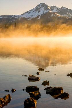 US38BJY0324 USA, Oregon, Sparks Lake. Misty lake and Mt. Bachelor.