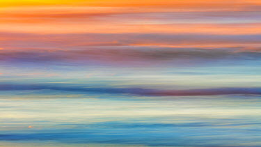 US48BJY0405 USA, Washington State, Cape Disappointment State Park. Abstract of sunset and ocean.