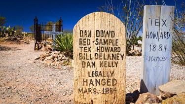 US03RBS0016 Graves at Boothill Graveyard, Tombstone, Arizona, Usa