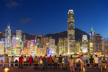 CH10662AW View of Hong Kong Island skyline from Tsim Sha Tsui promenade at dusk, Hong Kong, China