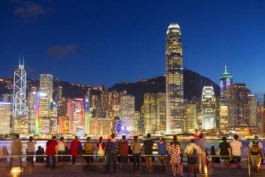 CH10662AW View of Hong Kong Island skyline from Tsim Sha Tsui promenade at dusk, Hong Kong, China