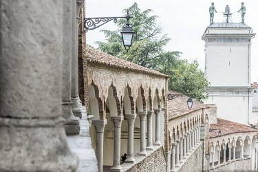 ITA9578AW europe, Italy, Friuli-Venezia-Giulia. The arcades of the Piazzale del Castello in Udine.