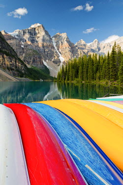 CAN3117AW Canoes on Moraine Lake, Banff National Park, Alberta, Canada