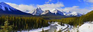 Morant's Curve With Haddo Peak, Saddle Mountain and Fairview Mountain, Banff National Park, Alberta, Canada