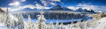 CAN3090AW Morant's Curve in Winter, Banff National Park, Alberta, Canada