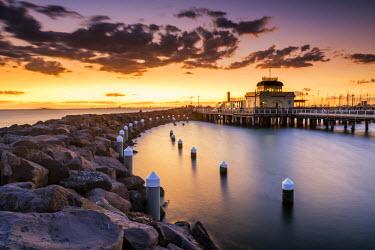 AUS2505AW St. Kilda Pavilion at Sunset, St. Kilda, Victoria, Australia