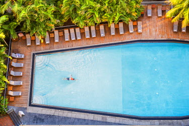 AUS2544AW Aerial View of Swimmer in Pool, Hamilton Island, Queensland, Australia