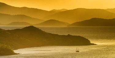 AUS2546AW Lone Yacht at Sunset, Hamilton Island, Whitsunday Islands, Queensland, Australia