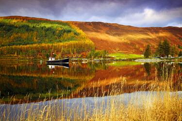 SCO34391AW Boat Reflections in Loch Lochy, Highland Region, Scotland