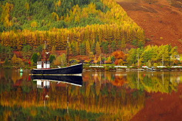 SCO34392AW Boat Reflections in Loch Lochy, Highland Region, Scotland