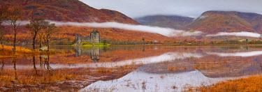 SCO34446AW Mist over Kilchurne Castle on Loch Awe, Strathclyde Region, Scotland