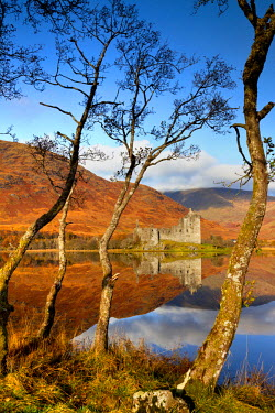 SCO34451AW Kilchurne Castle Reflecting in Loch Awe, Strathclyde Region, Scotland