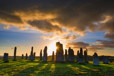 SCO34484AW Callanish Standing Stones at Sunset, Isle of Lewis, Outer Hebrides, Scotland
