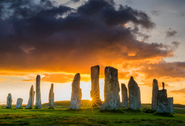 SCO34485AW Callanish Standing Stones at Sunset, Isle of Lewis, Outer Hebrides, Scotland