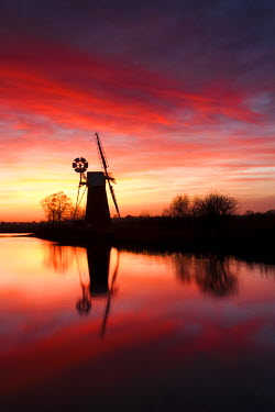 ENG13723AW Windmill in the Norfolk Broads, East Anglia, England