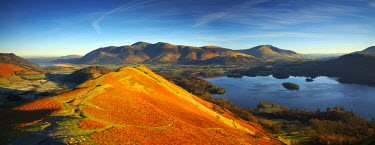 ENG13758AW View over Derwent Water from Cat Bells, Lake District National Park, Cumbria, England