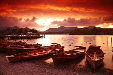 ENG13776AW Boats on Derwent Water at Sunset, Keswick, Lake District National Park, Cumbria, England
