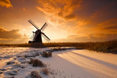 ENG13783AW Herringfleet Mill in Winter, Suffolk, England