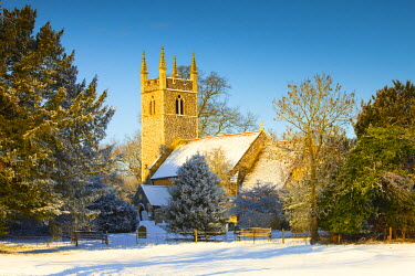 ENG13788AW Dunston Church in Winter, Dunston, Norfolk, England