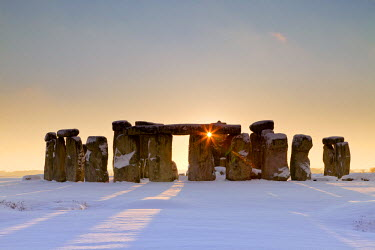 ENG13807AW Stonehenge at Sunset in Winter, Salisbury Plain, Wiltshire, England