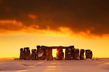 ENG13808AW Stonehenge at Sunset in Winter, Salisbury Plain, Wiltshire, England