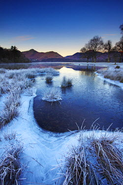 ENG13818AW Frost Along Derwent Water, Lake District National Park, Cumbria, England