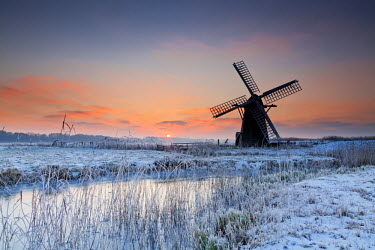 ENG13864AW Herringfleet Mill in Winter, Suffolk, England