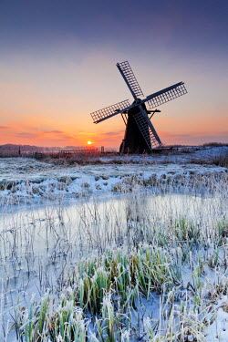ENG13865AW Herringfleet Mill in Winter, Suffolk, England