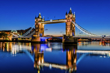 ENG13868AW Tower Bridge at Night, London, England