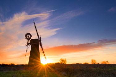 ENG13874AW St. Benet's Mill at Sunrise, Norfolk Broads National Park, Norfolk, England