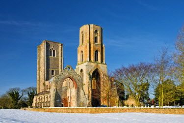 ENG13907AW Wymondham Abbey in Winter, Wymondham, Norfolk, England