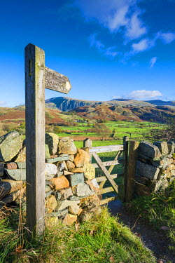ENG13933AW Public Footpath Sign & Gate, Lake District National Park, Cumbria, England